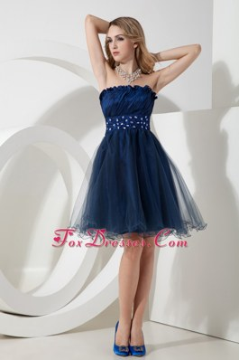 Navy Blue A-line Organza Beading Graduation Homecoming Dress Strapless