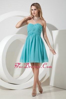Strapless Aqua A-line Chiffon Prom Graduation Dress Knee-length