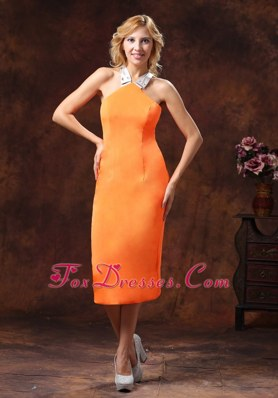 Orange Halter Satin Mother Of Holiday Cocktail Dresses Tea-length