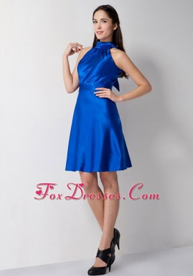 Royal Blue High-neck Holiday Cocktail Dresses Knee-length Taffeta