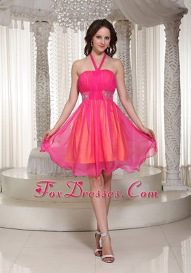Hot Pink Halter Beaded Prom Holiday Dresses For Cocktail Organza