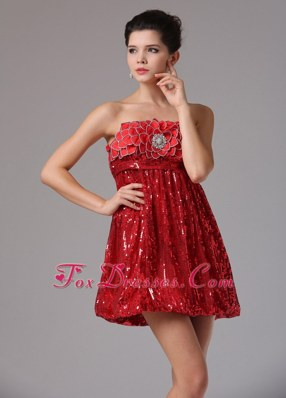Sequin Custom Made Wine Red Prom Holiday Dresses Beaded