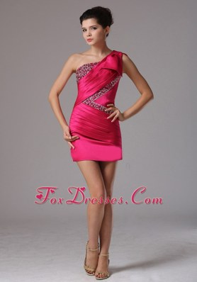 Coral Red One Shoulder Beaded Ruche Prom Holiday Dresses