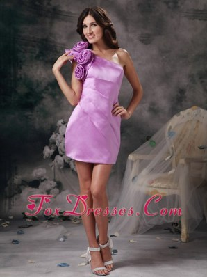 Hand Made Flowers Lavender One Shoulder Prom Holiday Dresses