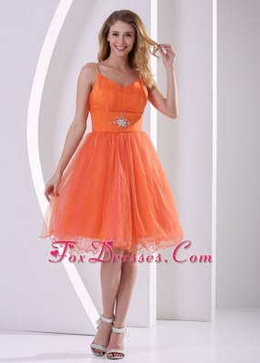 Spagetti Straps Holiday Cocktail Dress Orange Red Beded Ruch
