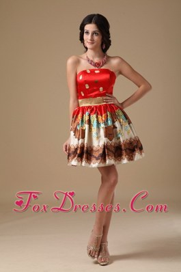 Printing Multi-color Sashed Mini-length Prom Holiday Dresses