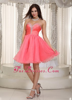 Watermelon Red Beading Prom Holiday Dresses Taffeta and Organza