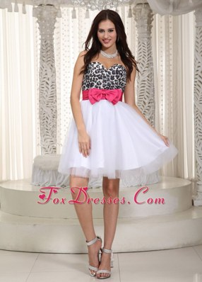 Leopard Bow White Sweetheart Tulle Plua Size Prom Holiday Dress