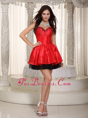 Red and Black Beading Layered 2013 Holiday Graduation Dresses