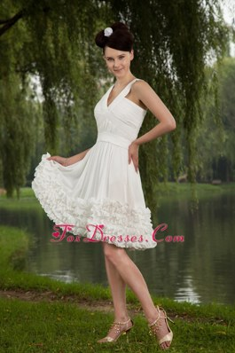 Ruffled Hems V-neck Chiffon Ruche Holiday Homecoming Dress White
