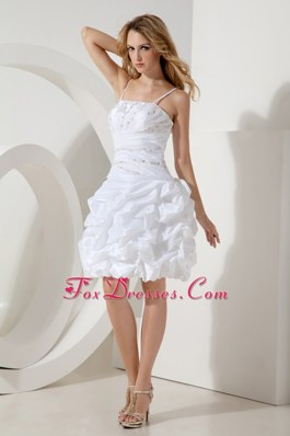 Spaghetti Straps White A-line Holiday Cocktail Dresses Ruched