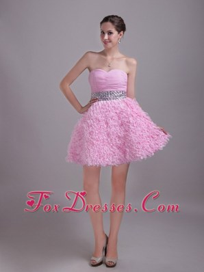 Baby Pink A-Line Holiday Dresses Beading Mini-length Ruched