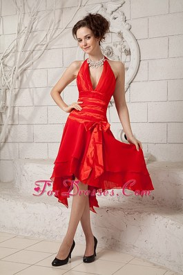 Red Halter Empire Prom Holiday Dresses Tea-length Asymmetrical