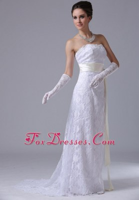 Stylish 2013 Wedding Dress Strapless Lace Column Brush
