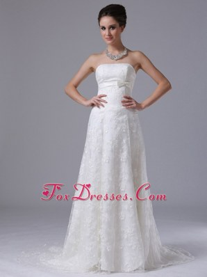 Bowknot Column Exquisite Wedding Dress With Lace
