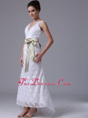 High-low V-Neck Lace Customize Wedding Dress With Ribbons