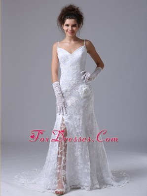 Lace Spaghetti Strap Column Garden Fitted Wedding Dress