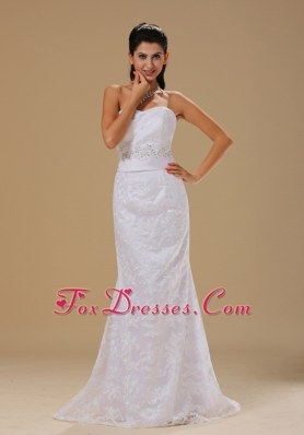 Strapless Lace Over Beaded Decorate For Wedding Dress
