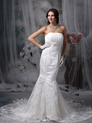 Mermaid Strapless Wedding Dress Court Lace Chiffon Ruch