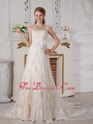 Lovely Wedding Dress A-line Strapless Court Lace Hand Made