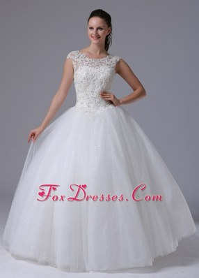 2013 A-line Scoop Wedding Dress With Appliques Tull