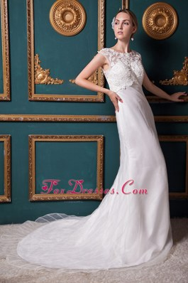Chapel Organza Lace Wedding Dress Column Scoop