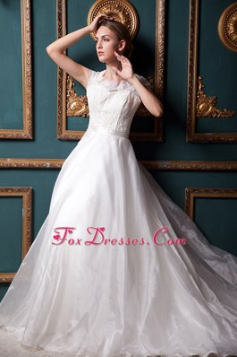 Square Chapel Organza Lace Wedding Dress A-line