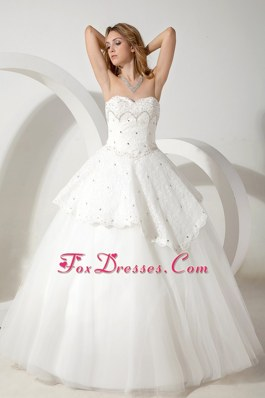 Ball Gown Sweetheart Tulle Beading Wedding Dress