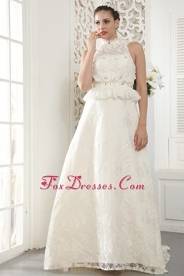 A-line High-neck Lace Beading Wedding Dress Pleats