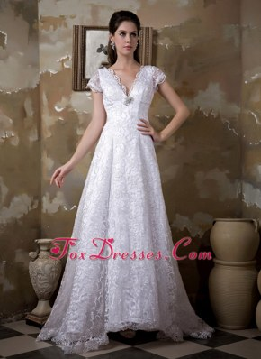 Luxurious Wedding Dress A-line V-neck Satin and Lace