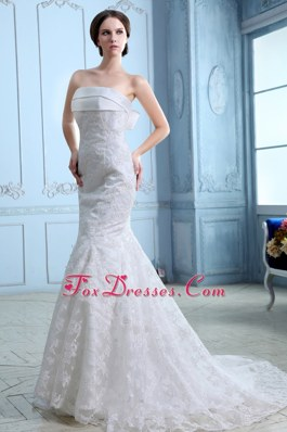 Low Price Mermaid Satin Lace Wedding Dress 2013