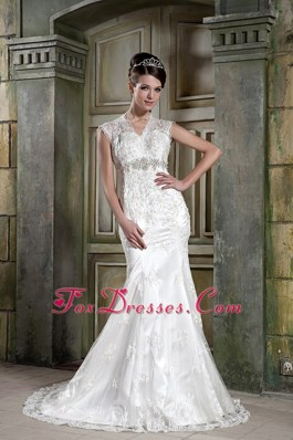 V-neck Court Lace Beading Mermaid Wedding Dress