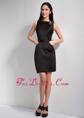 Bateau Column Little Black Dresses Mini-length Satin