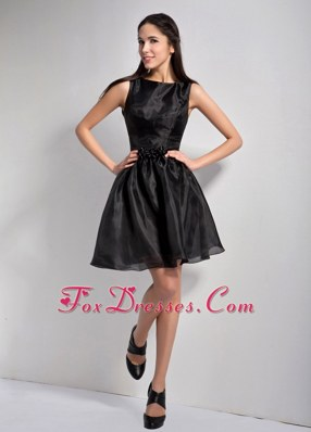 Bateau A-line Mini-length Organza Little Black Holiday Dresses