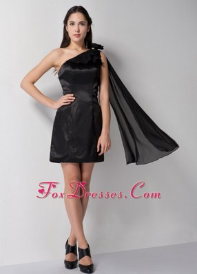 One Shoulder Column Mini-length Little Black Dresses Taffeta