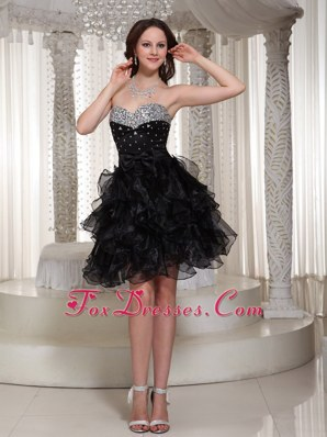Sweetheart Sexy Prom Little Black Dresses Beaded