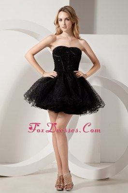 A-line Mini-length Organza Little Black Dress Beaded