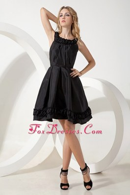 Scoop Pricess Mini-length Taffeta Little Black Dress