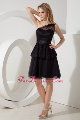 Mini-length One Shoulder Sashes Little Black Dresses Tulle