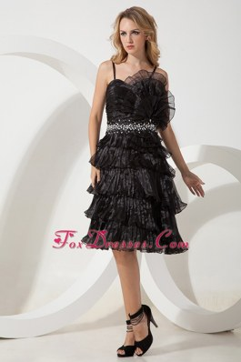 Pricess Straps Knee-length Organza Beaded Little Black Dress