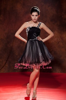 One Shoulder Ruche A-line Tulle Prom Little Black Dresses