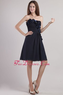 Chiffon Empire Strapless Little Black Dress with Appliques