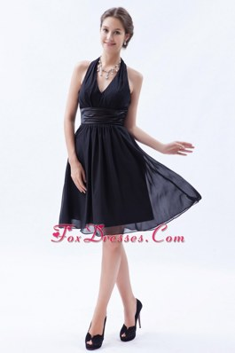 Halter Knee-length Chiffon Ruche Little Black Dresses 2013