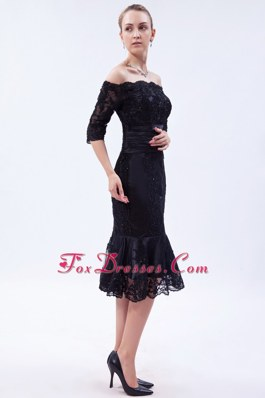 Off the Shoulder Lace Beading Little Black Dress Tea-length