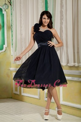 Navy Blue One Shoulder Short Chiffon Floral Prom Dress