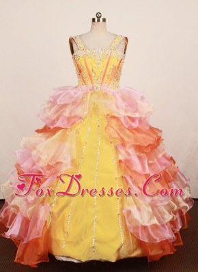 Lovely Multi-colored Little Girl Pageant Dress Ruffles Layer 2013