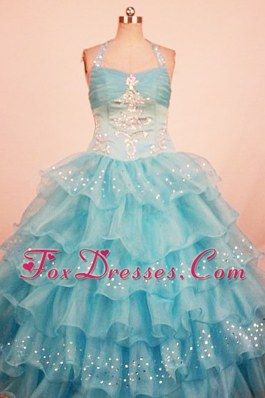 Halter Layer Ball Gown Beading Decorate Little Girl Pageant Dress