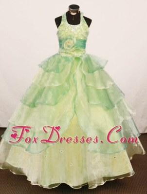 2012 Cheap Ball Gown Yellow Green Floor-length Girls' Dresses