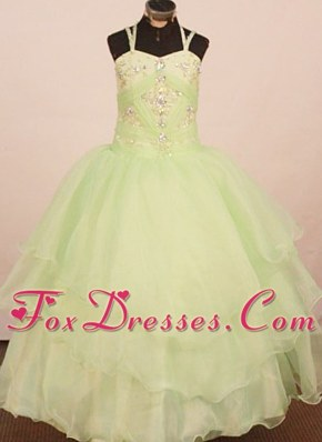 2013 Low Price Apple Green Beading Decorate Flower Girl Dress