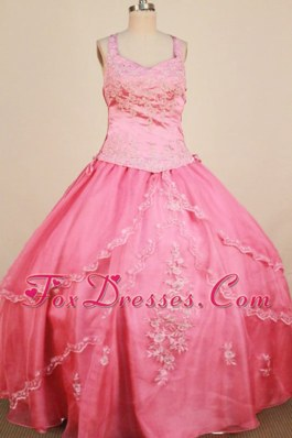 Cheap Appliques Ball Gown Embroidery Watermelon Pageant Dress